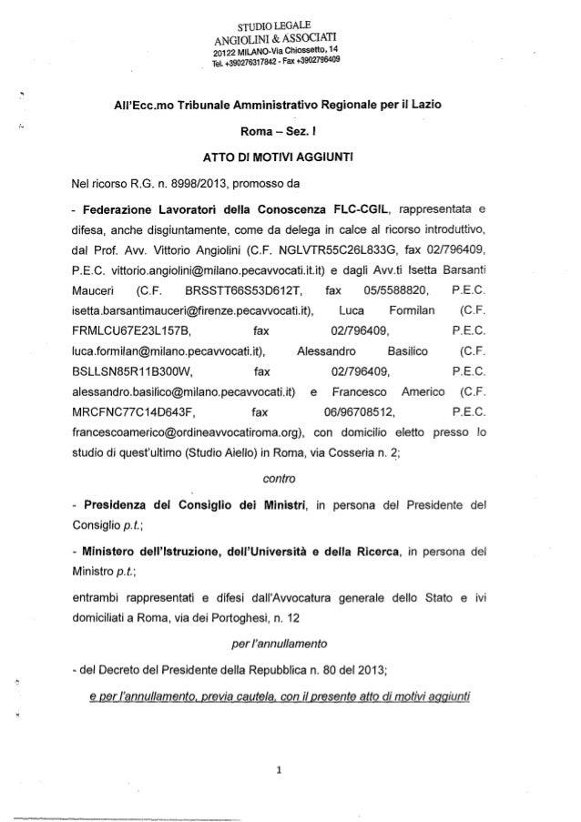 STUDIO LEGALE ANGIOLINI & ASSOCIATI 20122 MILANO-Via Chiossetto, 14 Tel. +390276317842 - Fax +3902798409 AII'Ecc.mo Tribun...