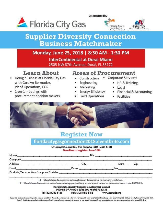 Florida City Gas Supplier Diversity Connection Business