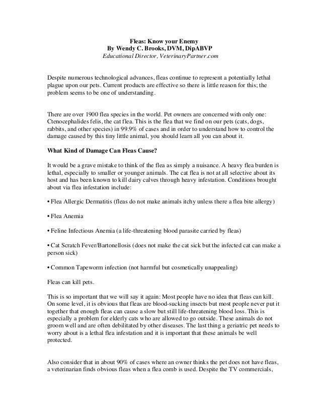 Fleas: Know your Enemy By Wendy C. Brooks, DVM, DipABVP Educational Director, VeterinaryPartner.com Despite numerous techn...