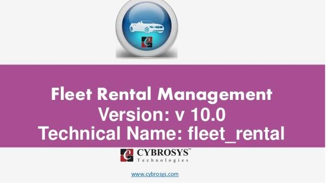 www.cybrosys.com Fleet Rental Management Version: v 10.0 Technical Name: fleet_rental