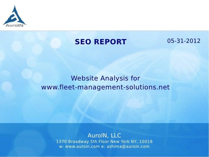 SEO REPORT                           05-31-2012        Website Analysis forwww.fleet-management-solutions.net             ...