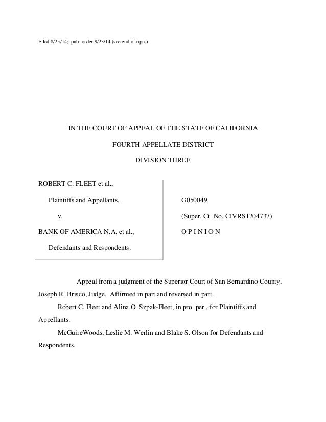Fleet v. Bank of America case from California Court of Appeal