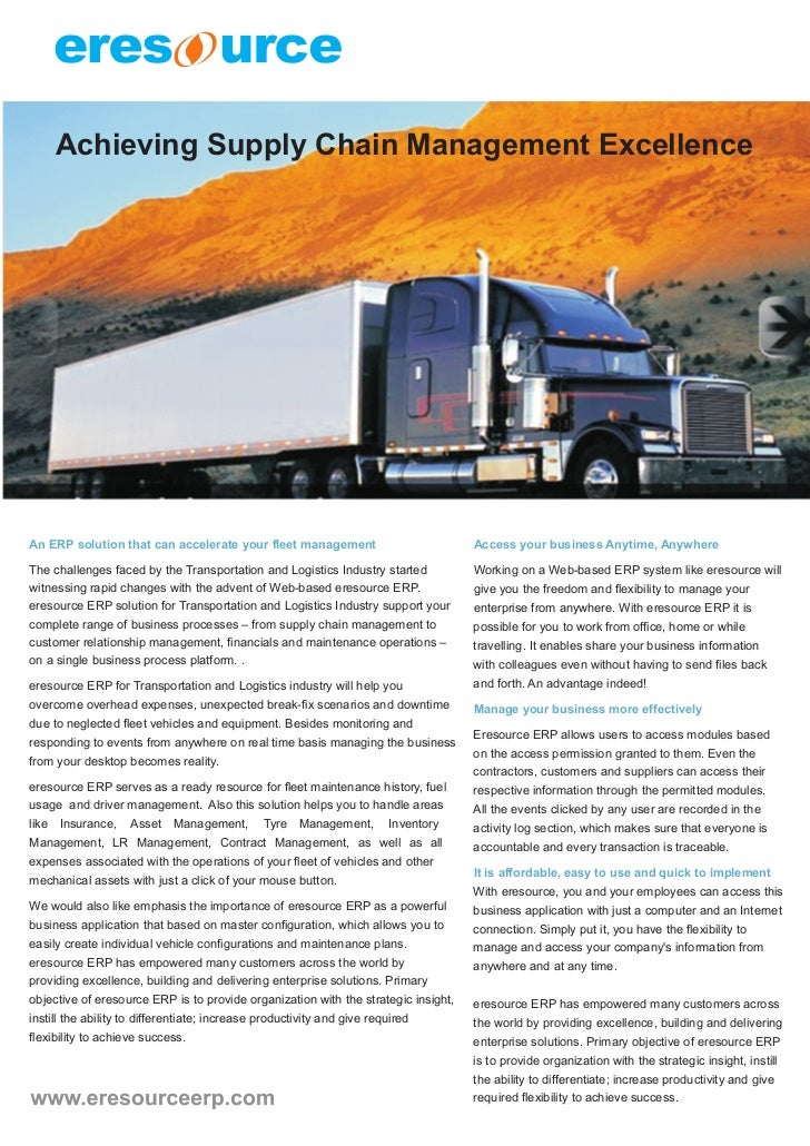 Achieving Supply Chain Management ExcellenceAn ERP solution that can accelerate your fleet management                     ...