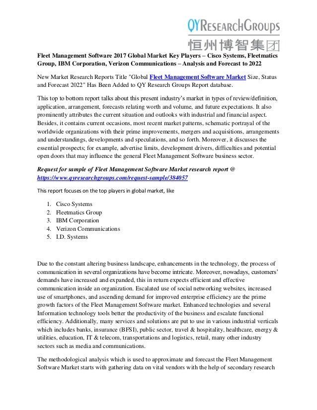Fleet Management Software Market Analysis- Size, Share, Growth, Indus…