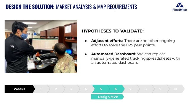 DESIGN THE SOLUTION: MARKET ANALYSIS & MVP REQUIREMENTS HYPOTHESES TO VALIDATE: ● Adjacent efforts: There are no other ong...