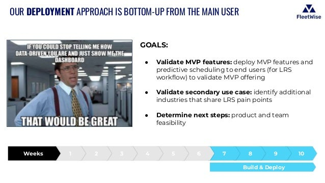 OUR DEPLOYMENT APPROACH IS BOTTOM-UP FROM THE MAIN USER GOALS: ● Validate MVP features: deploy MVP features and predictive...