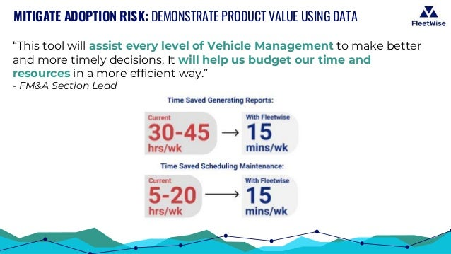 """MITIGATE ADOPTION RISK: DEMONSTRATE PRODUCT VALUE USING DATA """"This tool will assist every level of Vehicle Management to m..."""