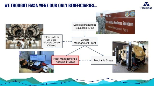 WE THOUGHT FM&A WERE OUR ONLY BENEFICIARIES… Logistics Readiness Squadron (LRS) Mechanic Shops Other Units on AF Base (Veh...