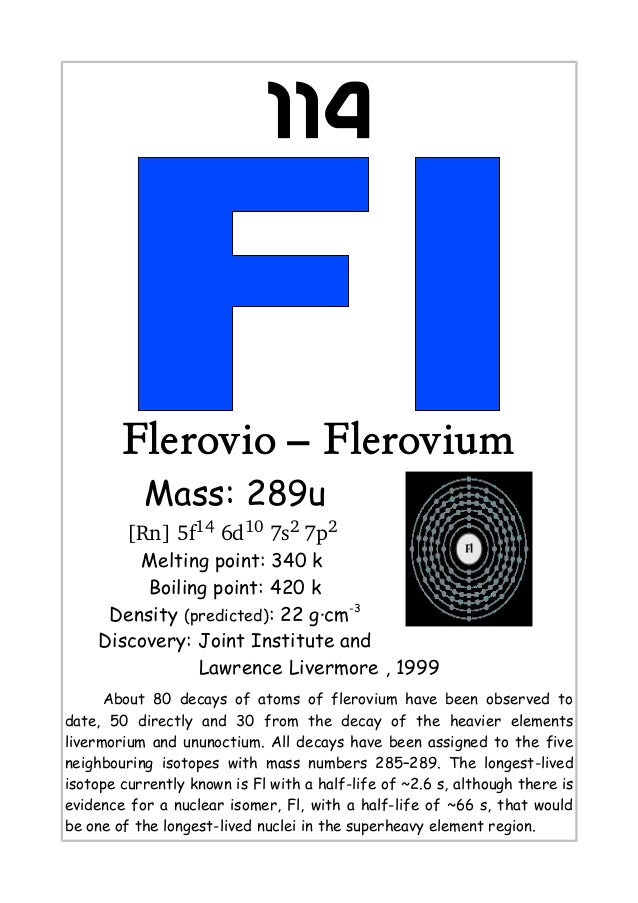 114Flerovio – FleroviumMass: 289u[Rn] 5f14 6d10 7s2 7p2 Melting point: 340 kBoiling point: 420 kDensity (predicted): 22 g·...