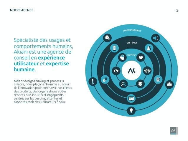 3NOTRE AGENCE Spécialiste des usages et comportements humains, Akiani est une agence de conseil en expérience utilisateur ...