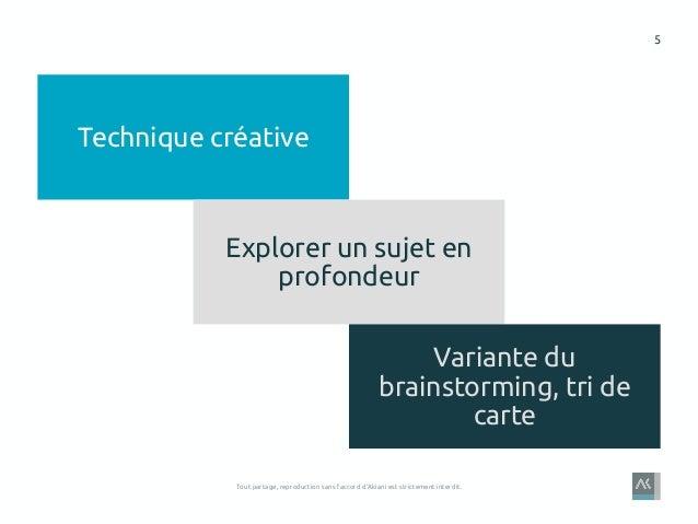 5 Tout partage, reproduction sans l'accord d'Akiani est strictement interdit. Technique créative Explorer un sujet en prof...