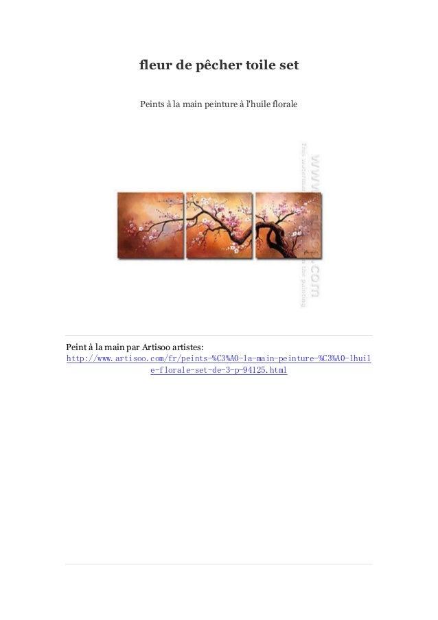 fleur de pê cher toile set Peints à main peinture à la l'huile florale  Peint à main par Artisoo artistes: la http://www.a...