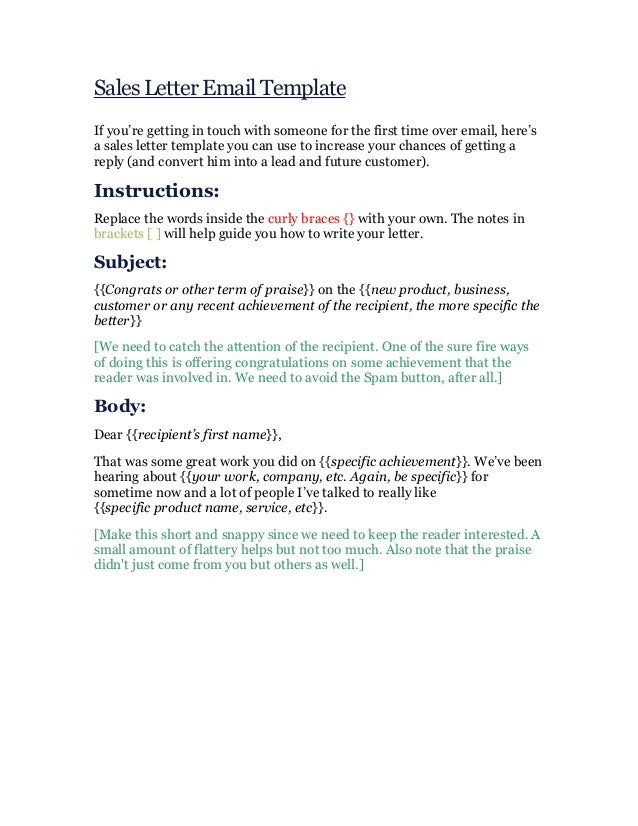 sales letter email template if youre getting in touch with someone for the first