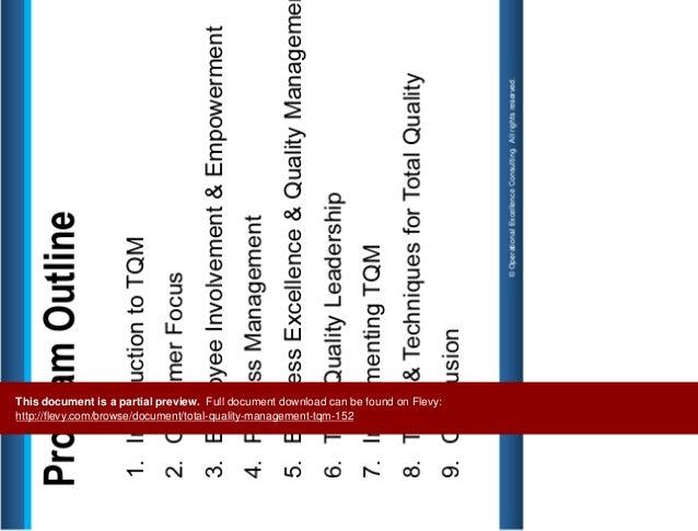 Total Quality Management (TQM) Slide 2