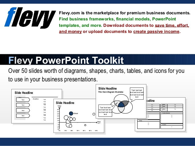 Over 50 slides worth of diagrams, shapes, charts, tables, and icons for you to use in your business presentations. Flevy.c...