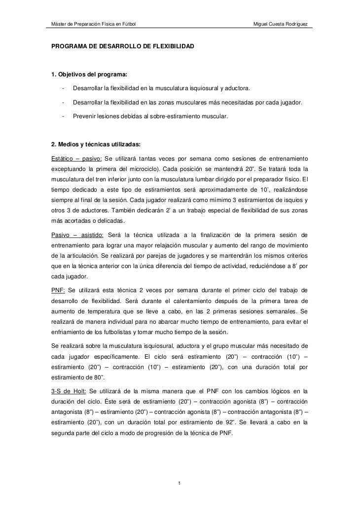 Máster de Preparación Física en Fútbol                                           Miguel Cuesta RodríguezPROGRAMA DE DESARR...