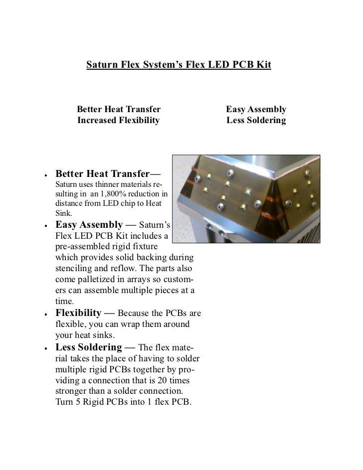 Saturn Flex System's Flex LED PCB Kit      Better Heat Transfer                 Easy Assembly      Increased Flexibility  ...