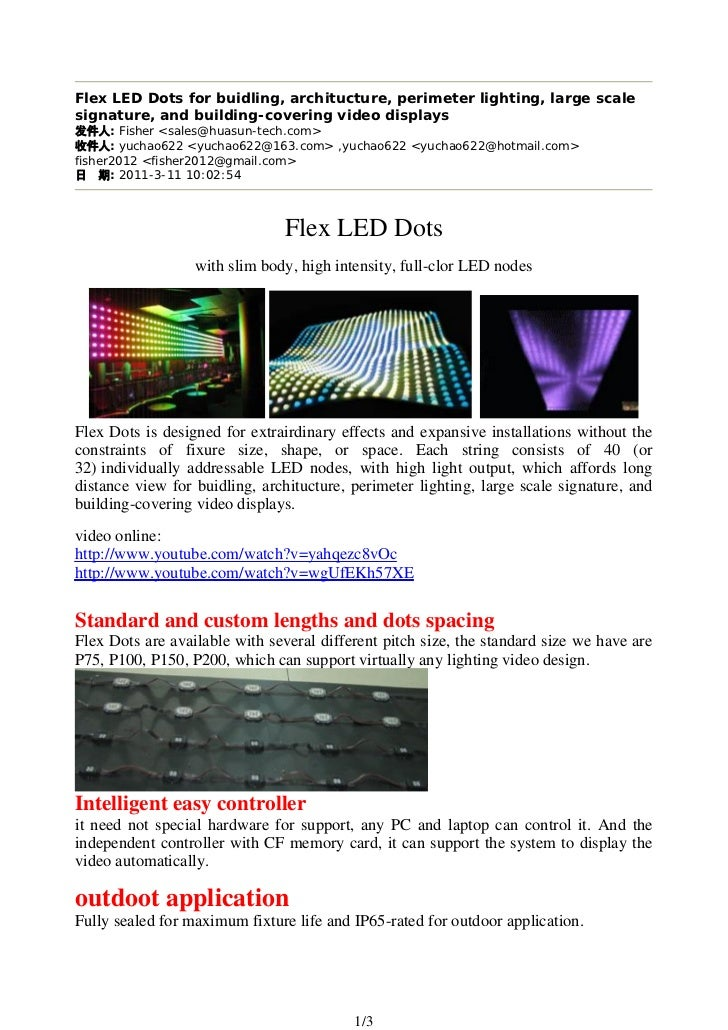Flex LED Dots for buidling, architucture, perimeter lighting, large scalesignature, and building-covering video displays  ...