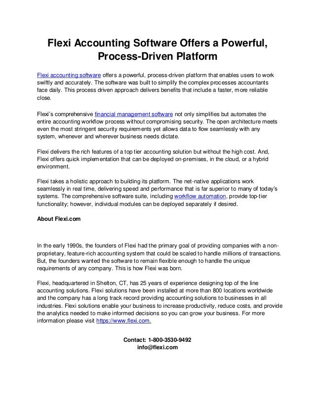 Flexi Accounting Software Offers a Powerful, Process-Driven Platform