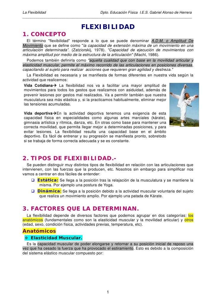 La Flexibilidad                       Dpto. Educación Física I.E.S. Gabriel Alonso de Herrera ____________________________...