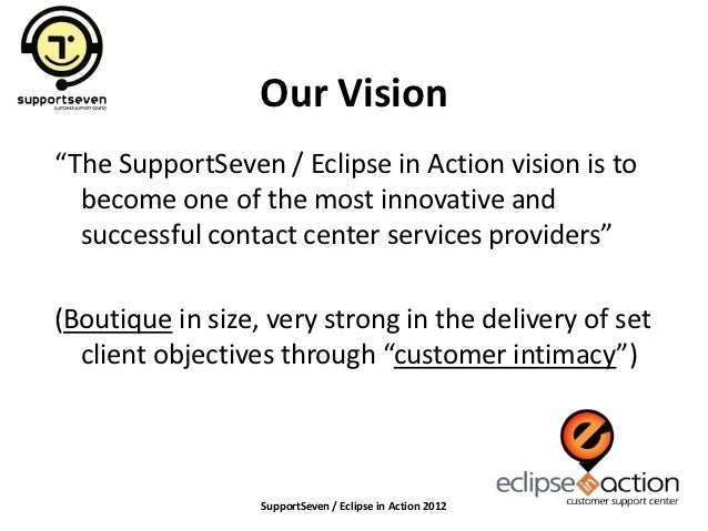 """Our Vision""""The SupportSeven / Eclipse in Action vision is to  become one of the most innovative and  successful contact ce..."""