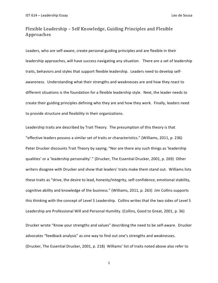 Exceptional IST 614 U2013 Leadership Essay ...