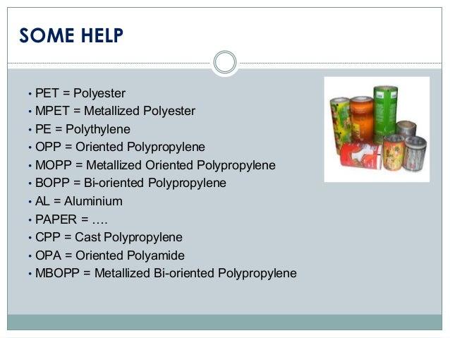 SOME HELP • PET = Polyester • MPET = Metallized Polyester • PE = Polythylene • OPP = Oriented Polypropylene • MOPP = Metal...
