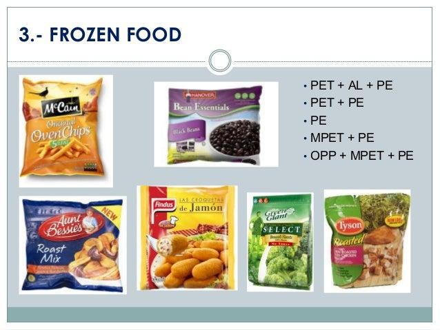 3.- FROZEN FOOD • PET + AL + PE  • PET + PE • PE  • MPET + PE • OPP + MPET + PE