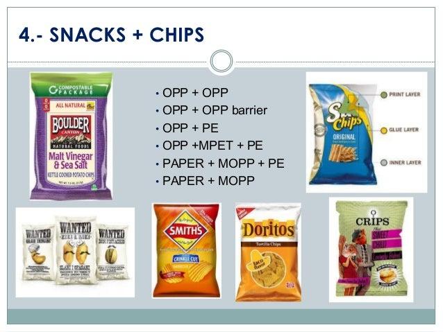 4.- SNACKS + CHIPS • OPP + OPP • OPP + OPP barrier • OPP + PE • OPP +MPET + PE • PAPER + MOPP + PE • PAPER + MOPP