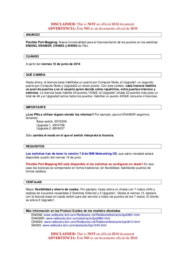 DISCLAIMER: This is NOT an official IBM document ADVERTENCIA: Éste NO es un documento oficial de IBM DISCLAIMER: This is N...