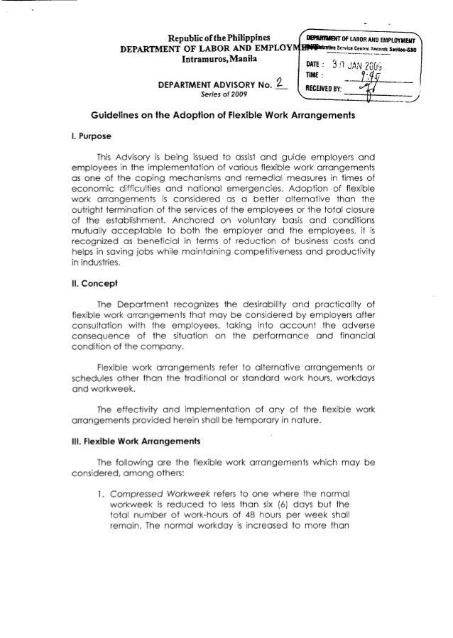 Flexible Work Arrangement Guidelines by DOLE