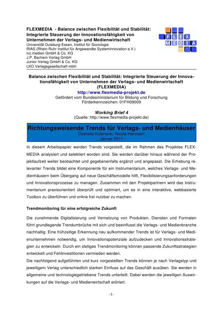 FLEXMEDIA - Balance zwischen Flexibilität und Stabilität:Integrierte Steuerung der Innovationsfähigkeit vonUnternehmen der...