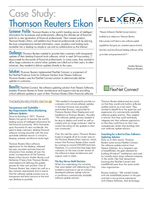 Thomson Reuters Eikon: FlexNet Connect Helps Financial