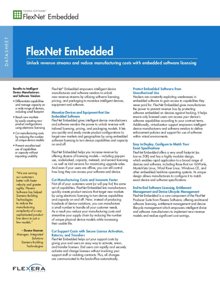D ATA S H E E T                             FlexNet Embedded                              Unlock revenue streams and reduc...