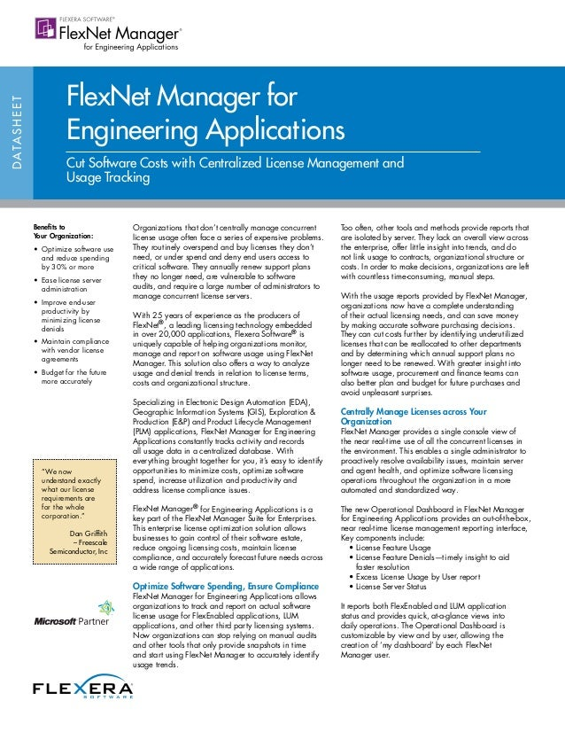 FlexNet Manager forD ATA S H E E T                            Engineering Applications                            Cut Soft...