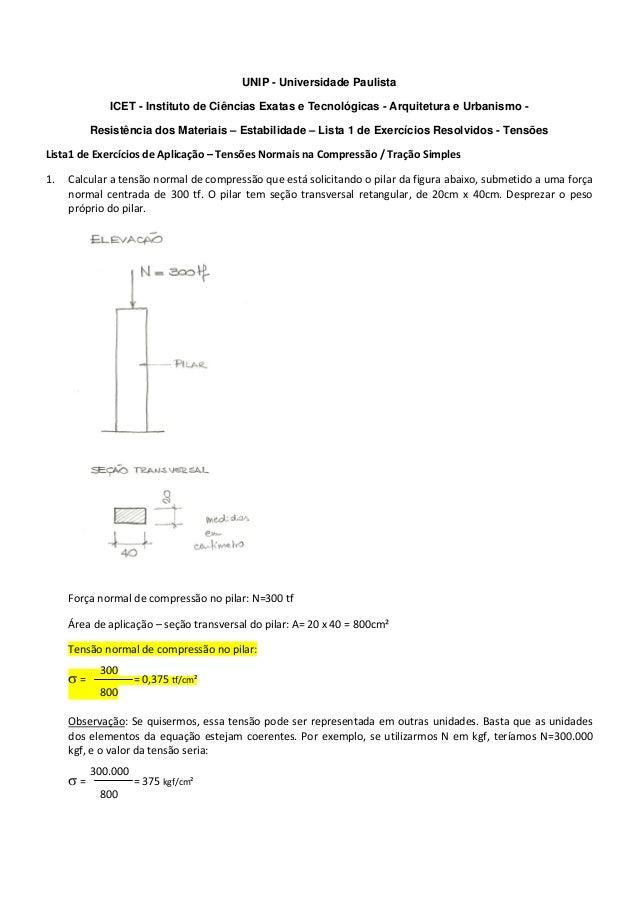 UNIP - Universidade Paulista ICET - Instituto de Ciências Exatas e Tecnológicas - Arquitetura e Urbanismo - Resistência do...
