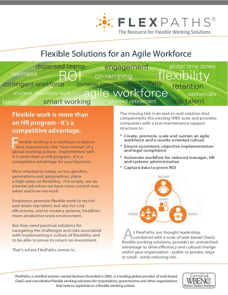 Flexible Solutions for an Agile Workforce         dispersed teams                                      engagement         ...