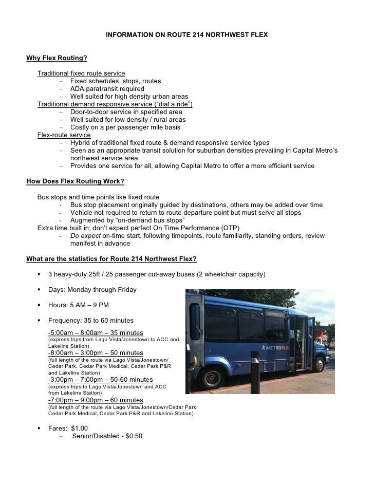 INFORMATION ON ROUTE 214 NORTHWEST FLEXWhy Flex Routing?   Traditional fixed route service           – Fixed schedules, st...