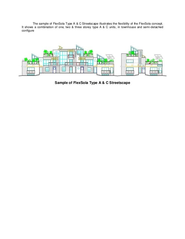 The sample of FlexSola Type A & C Streetscape illustrates the flexibility of the FlexSola concept.It shows a combination o...