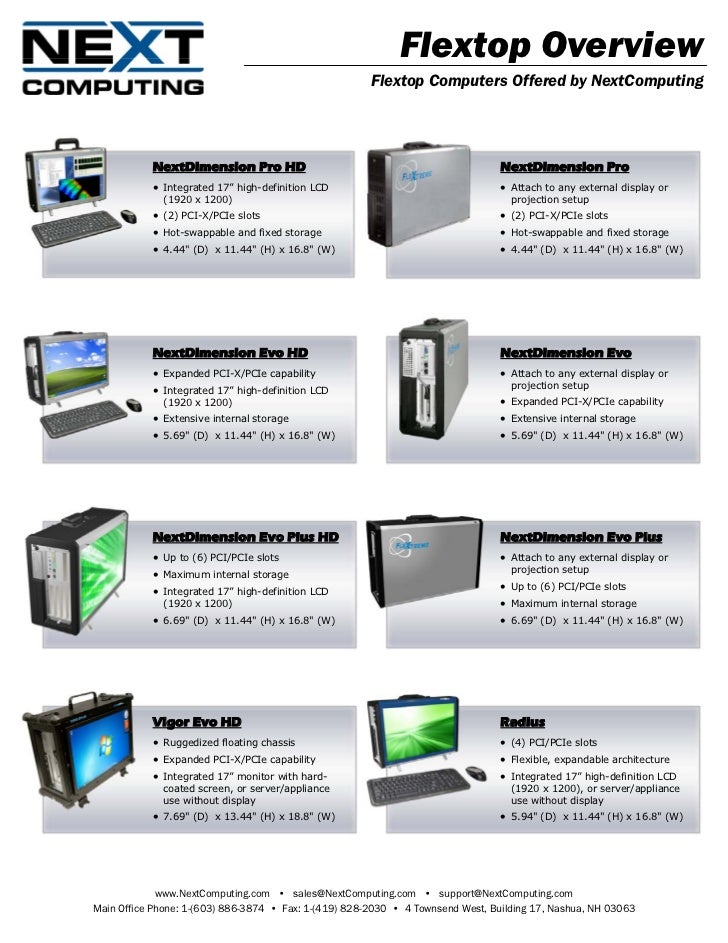 Flextop Overview                                                       Flextop Computers Offered by NextComputing         ...