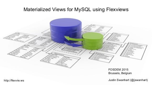 Materialized Views for MySQL using Flexviews FOSDEM 2015 Brussels, Belgium Justin Swanhart (@jswanhart)http://flexvie.ws
