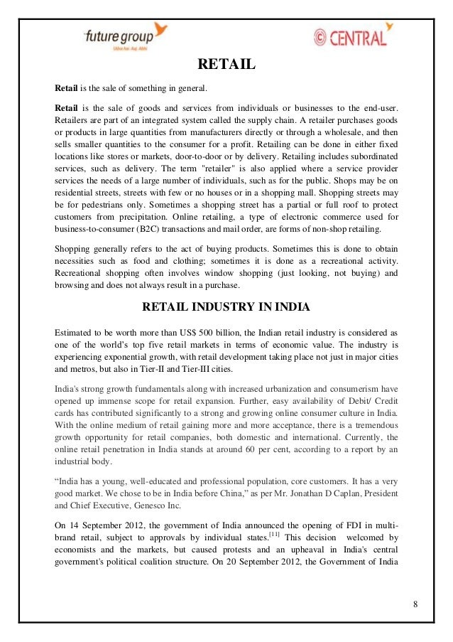 RETAIL Retail is the sale of something in general. Retail is the sale of goods and services from individuals or businesses...