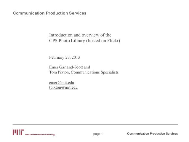Communication Production Services                Introduction and overview of the                CPS Photo Library (hosted...
