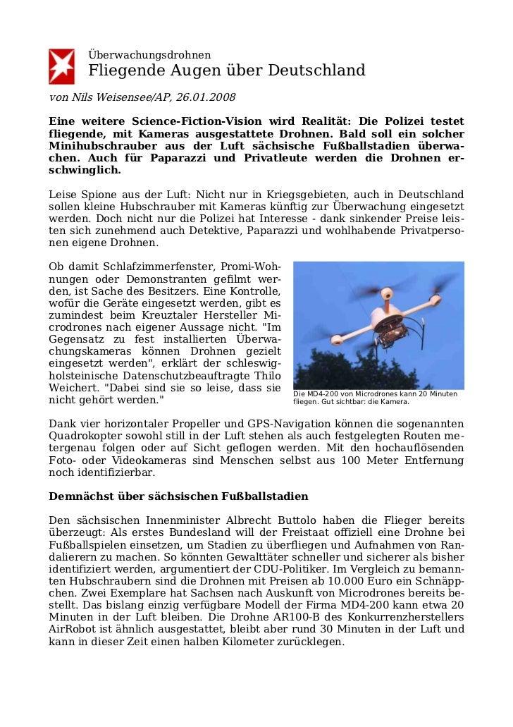 Überwachungsdrohnen       Fliegende Augen über Deutschlandvon Nils Weisensee/AP, 26.01.2008Eine weitere Science-Fiction-Vi...