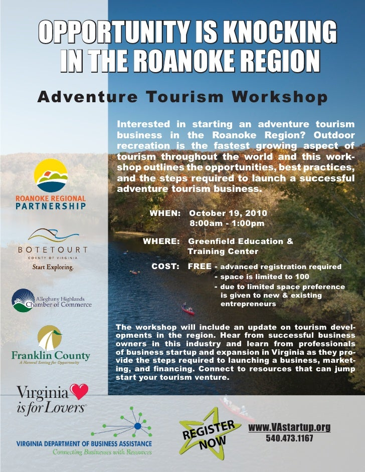 OppOrtunity is knOcking  in the rOanOke regiOn Adventure Tourism Wor kshop        Interested in starting an adventure tour...