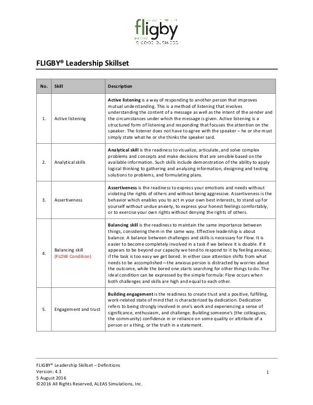 FLIGBY®	Leadership	Skillset	–	Definitions	 Version:	4.3 5	August	2016 ©2016	All	Rights	Reserved,	ALEAS	Simulations,	Inc.	 ...