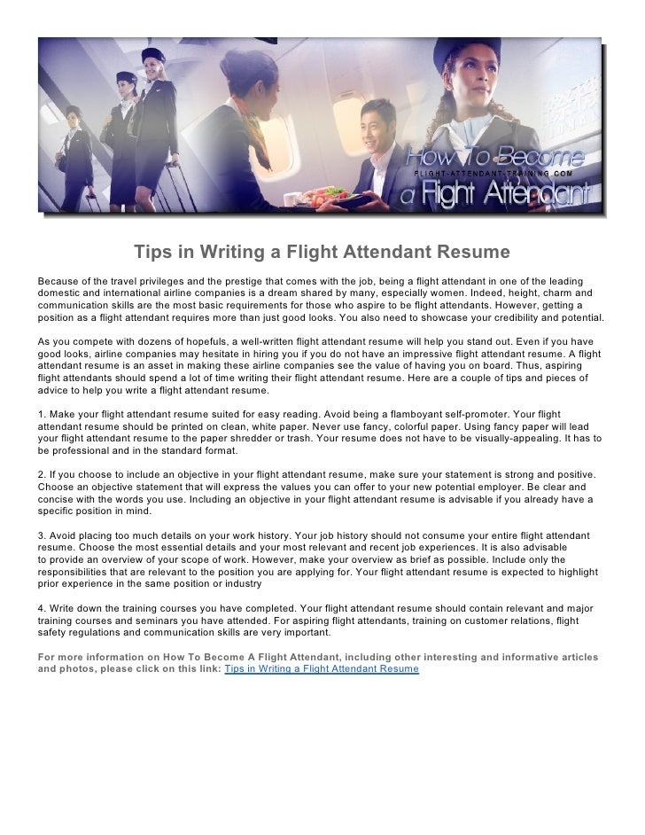 Tips In Writing A Flight Attendant ResumeBecause Of The Travel Privileges  And The Prestige That Comes  Resume Flight Attendant