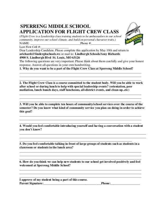 SPERRENG MIDDLE SCHOOLAPPLICATION FOR FLIGHT CREW CLASS(Flight Crew is a Leadership class training students to be ambassad...