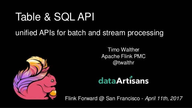 1 Timo Walther Apache Flink PMC @twalthr Flink Forward @ San Francisco - April 11th, 2017 Table & SQL API unified APIs for...