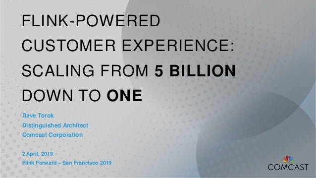 FLINK-POWERED CUSTOMER EXPERIENCE: SCALING FROM 5 BILLION DOWN TO ONE Dave Torok Distinguished Architect Comcast Corporati...